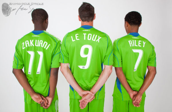 Seattle Sounders Steve Zakuani, Sebastien Le Toux, and James Riley