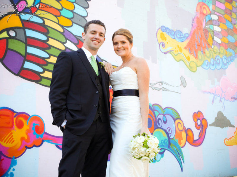 Wedding Portraits in Front of Graffiti Wall