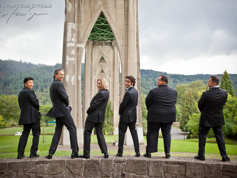 Funny Groomsmen Photo at Cathedral Park Portland