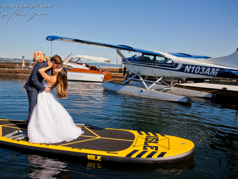 Bride and Groom at Woodmark Hotel on Paddelboard