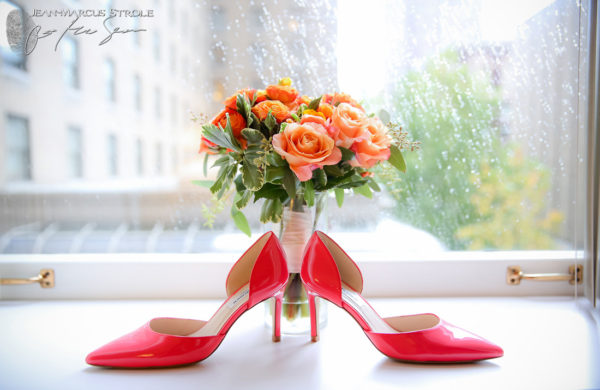 Bride's Bouquet and Shoes at The Fairmount Hotel