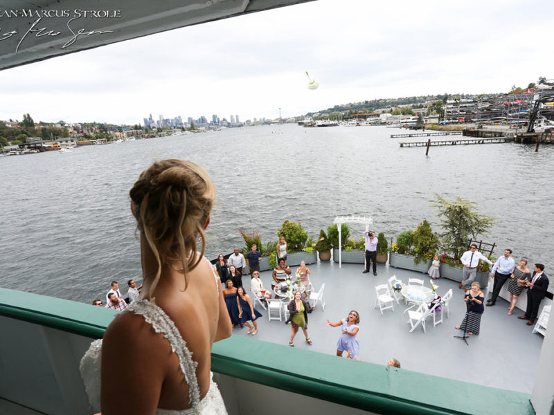Bride Tossing Bouquet on the Skansonia Ferry