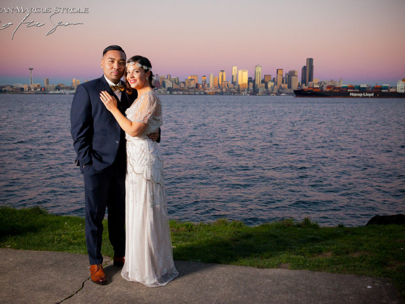 Bride and Groom at Sunset in West Seattle