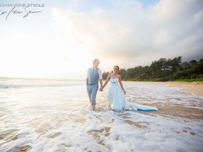 Destination Beach Wedding Photography in Oahu at Sunset